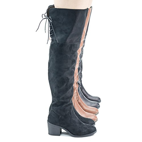 Faux Fur Inner Lining w Corset Lace Up Over Knee Thigh High Block Heel Black Faux Suede