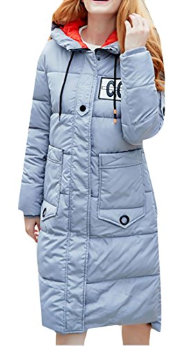 Mid M Down Women's amp;S amp;W Coat Casual Long Sleeve Grey long Hooded Light pUawgxqU1