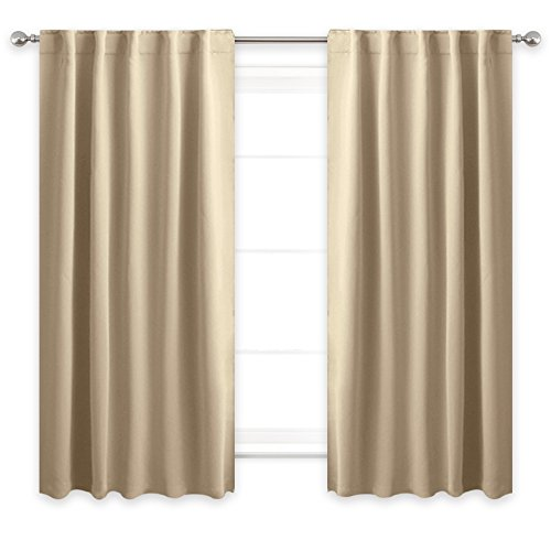 NICETOWN Blackout Curtain Panels for Living room - (Cream Beige Color) 42 Width X 54 Length, 1 Pair, Solid Thermal Insulated Blackout Rod Pocket & Back Tab Curtains and Drapes for Bedroom