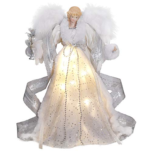 Angel Christmas Tree (Valery Madelyn 15.8 Inch Frozen Winter Silver White Christmas Angel Tree Topper, Angel Tree Top with 10 Warm LED Lights, Battery Operated (Not)