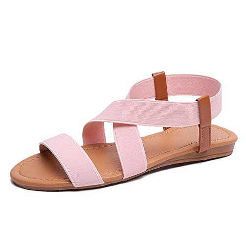Festnight Flat Sandals for Women, Women Flat Sandals Elastic Strap Slip On Rome Style Low Heels Ladies Beach Summer Shoes Pink
