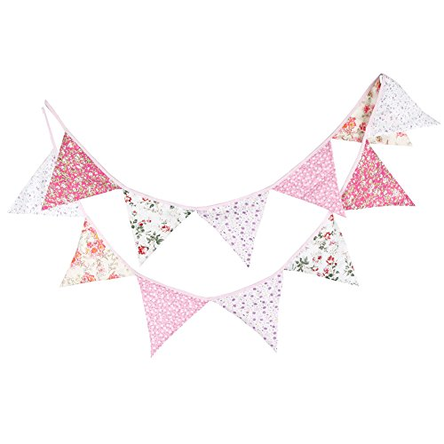 [Whitelotous 10.5 Feet 12 Flags Vintage Cotton Fabric Bunting Garland Wedding Birthday Party Decoration Banner Pennant Rustic Hanging Decor] (Party Decoration Items)