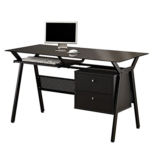 Scranton & Co Computer Desk with Two Storage Drawers in Black by Scranton & Co