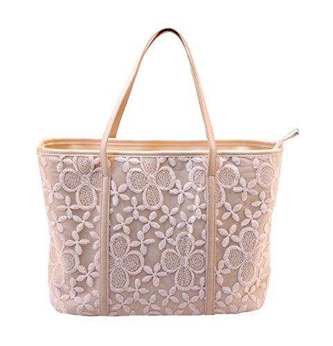 Lace Leather Tote (Bramble Women¡¯s PU Leather Lace Handbag Cross Body Tote Bag Shoulder Bag)