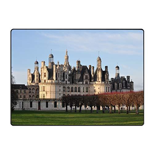 Khope Castle of Chambord Printed Slip Resistant Rubber Back Runner Rug and Area Rugs 31 × 20