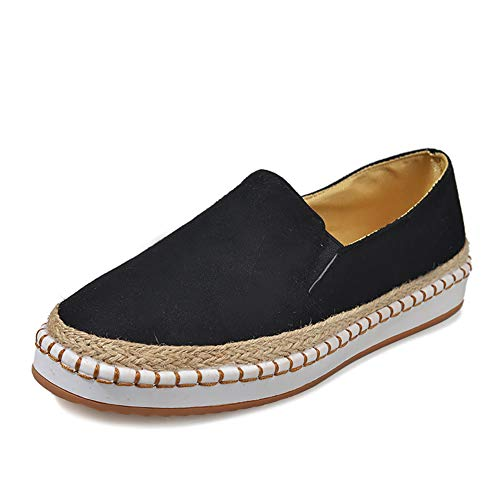 7a737677cfb48 V-DOTE Women's Ladies Low Top Laceless Slip On Fashion Sneakers Suede  Loafers Flat Espadrilles Casual Flats Shoes Black Size 8.5