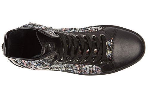 Hogan Rebel chaussures baskets sneakers hautes femme en cuir rebel r182 noir