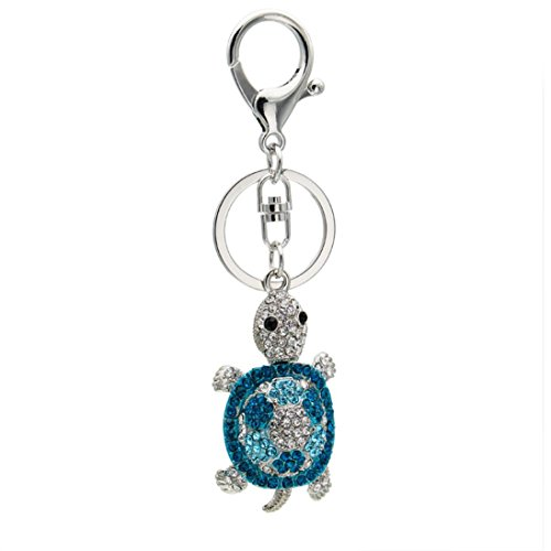 Yeefant Creative Tortoise Bag Hanging Accessories Decor Gift Pendant Handbags Ornaments Keychain Car Key Ring,1.3x2.1 Inch,Silver (Pink Coin Pearl Bracelet)