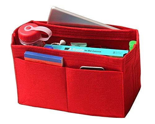 - [Fits Neverfull MM/Speedy 30, Red] Felt Organizer, Bag in Bag, Wool Purse Insert, Customized Tote Organize, Cosmetic Makeup Diaper Handbag