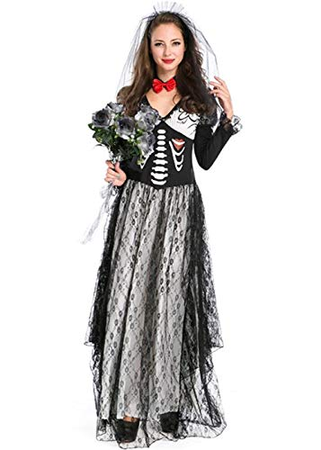 (QOCAOFIG Women's Zombie Ghost Bride Costume,Halloween Corpse Countess Gothic Dress Outfits)