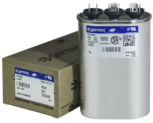 97F9693-45 + 5 uf MFD 370 Volt VAC - GE Oval Dual Run Capacitor Upgrade
