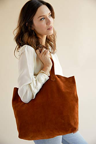 Nisolo Genuine Suede Lori Tote Bag with Inside Pocket