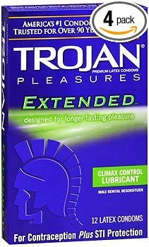 Trojan Condoms, Pleasures, Extended Climax Control, Lubricant, Latex - 12 ct, Pack of 4