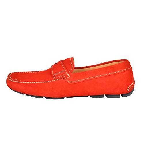 Prada Men's Cherry Red Suede Leather Moccasins Loafers Shoes US 8 IT 7 EU 41