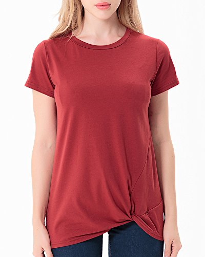 Courtes Spcial Ourlet Col Pull Rond Manches Femmes Anyu Couleur Avec Chemises Rouge Vin Unie IvHqTWZw