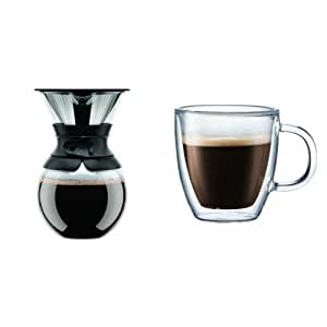 Bodum Pour Over Coffee Maker Bed Bath And Beyond : Amazon.com: Bodum Pour Over Coffee Maker with Double-Wall Glass Espresso Mugs (Set of 4 ...