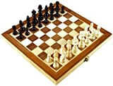 12 Inch Folding Inlaid Wood Travel chess set with storage