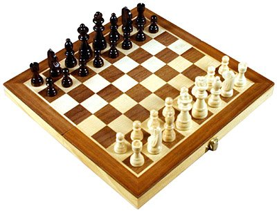 12 Inch Folding Inlaid Wood Travel chess set with storage ()