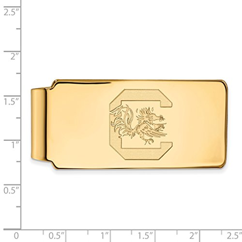 Sterling Licensed 14K Silver w Clip SC University Official Yellow Plated Collegiate Money of Gold South LogoArt Carolina rqrf8nEg