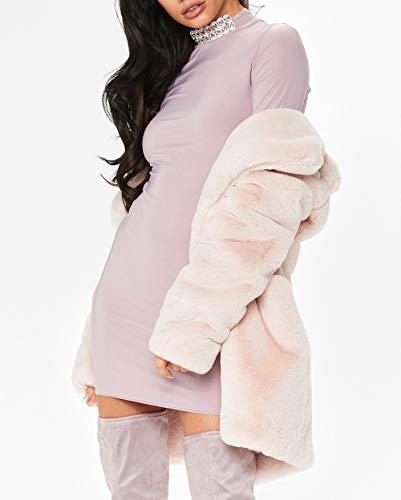Womens Long Sleeve Winter Warm Lapel Fox Faux Fur Coat Jacket Overcoat Outwear with Pockets