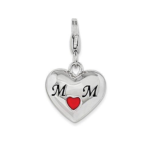 Rhodium Mom Heart Charm - Sterling Silver W/ Rhodium-plated Enameled Heart Mom w/Lobster Clasp Charm (0.6in)