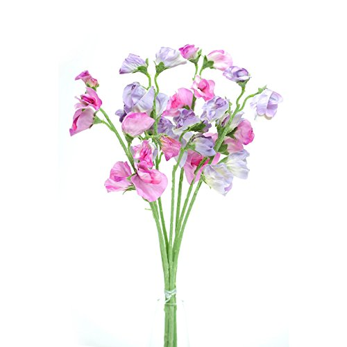 - Floristrywarehouse Artificial Silk Sweetpea Pink & Lilac Stems Sweet Pea Flowers 16 inches