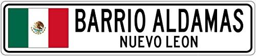 BARRIO ALDAMAS, NUEVO LEON - Mexico Flag Aluminum City Sign - 4 x 18 Inches