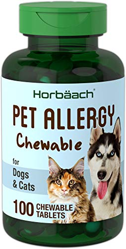 Horbaach Pet Allergy Max Relief 100 Chewables Tablets | Seasonal Alleries, Immune Support and Digestive Probiotics | Non-GMO and Gluten Free | Natural Beef Flavor Medicine for Cats & Dogs |