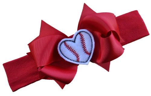 Baseball Bow Headband with Felt Embroidered Heart and 4.5 Inch Bow By Funny Girl Designs - Red (Nylon Band (0-9 Months))