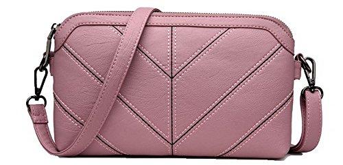 VogueZone009 Femme Pu Cuir Zippers Mode Décontractée Pochette Sacs à bandoulière,CCAFBP180957 Rose
