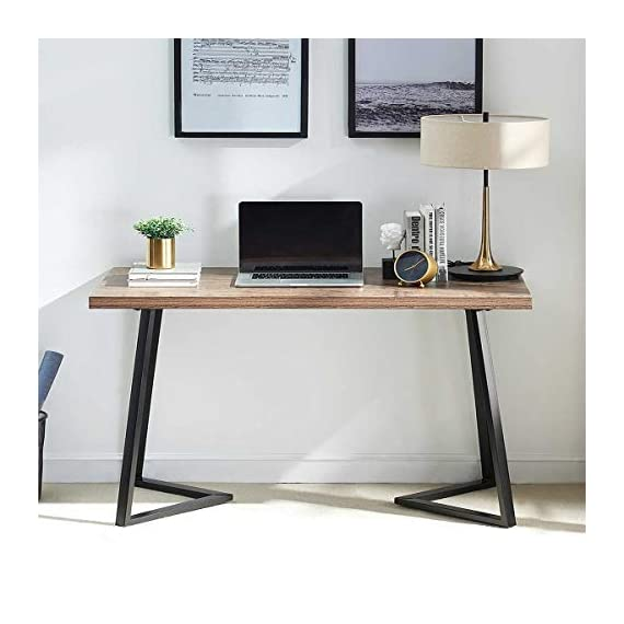 UnaFurni Rustic Computer Desk, Vintage Industrial Simple Writing Desk, Metal and Wood Study Table for Home Office… -  - writing-desks, living-room-furniture, living-room - 41nR3hBKhlL. SS570  -