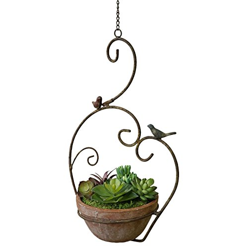 Scroll Heart and Bird Garden Brown 14 Inch Terra Cotta Hanging Planter