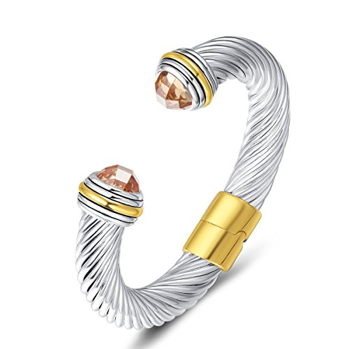 UNY Cuff Antique Wire Charms Women Vintage Trendy Fashion Designer Inspired Unique Bracelets Bangles (Champagne CZ)