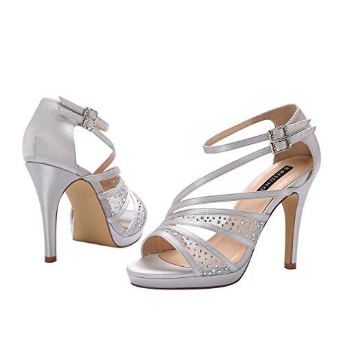 Satin Women Sandals Rhinestones High Wedding Heel Silver Evening Prom Ankle Platform Strap ERIJUNOR 0gqBd0