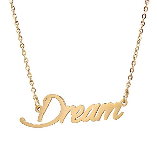 HUAN XUN Gold Color Plated Simple Word Pendants Dream Believe Achieve