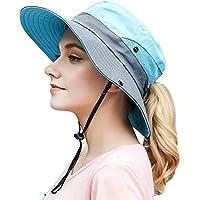 Haundry Women's Outdoor UV Protection Foldable Mesh Wide Brim Beach Fishing Hat Sky Blue