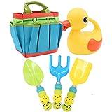 Apol Cute Gardening Tool Set Kids Children Includes Duck Shape Watering Can Caterpillar Pattern Shovel Rake Trowel Carry Bag Girls Boys Gift