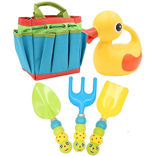 Apol Cute Gardening Tool Set Kids Children Includes Duck Shape Watering Can Caterpillar Pattern Shovel Rake Trowel Carry Bag Girls Boys Gift by Apol
