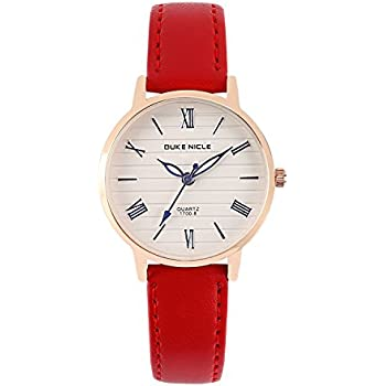 Womens Watch,Fashion Elegant Casual Waterproof Roman Numeral Quartz Wrist Watches for Ladies and Girls with Comfortable Genuine Leather Band (Red)