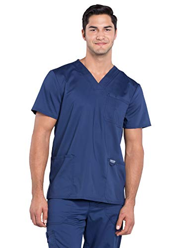 2 Pocket V-neck Scrub Cherokee (Cherokee WW Revolution WW670 Men's V-Neck Top Navy M)