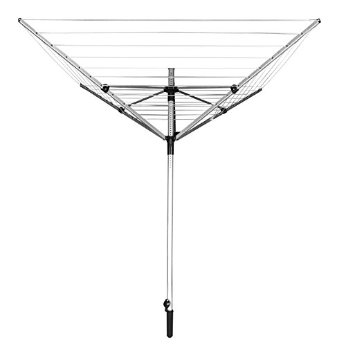 Jusdreen Four-arm Umbrella Style Drying Rack Retractable Foldable Aluminum Alloy Clothes Drying Airer 50M PVC&High-strength wire Clothes-lines