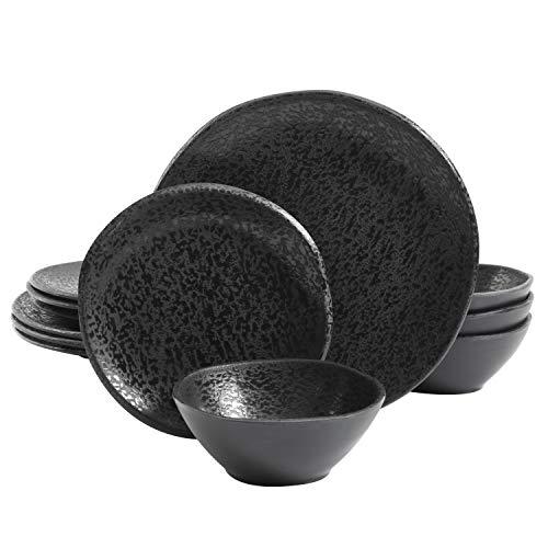 Gibson Home Yoko Round Melamine Dinnerware Set, Service for Four (12pcs), Matte Black