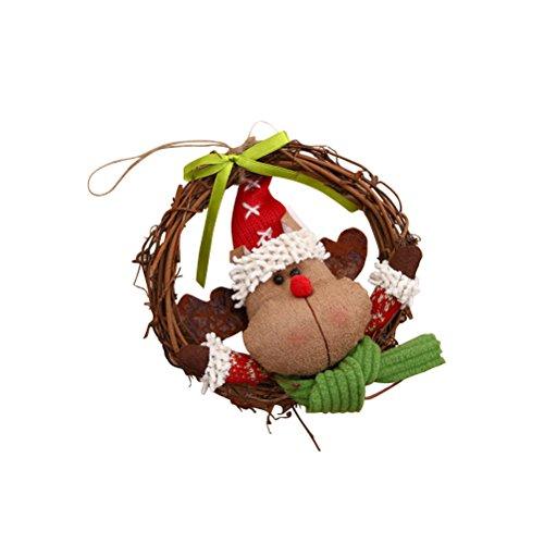 BESTOYARD Christmas Wreath Front Door Wreath Grapevine Wreaths Holiday Christmas Decorations 14cm (Reindeer) - Grapevine Reindeer