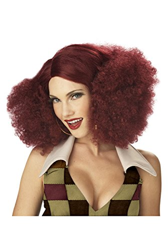 California Costumes Women's Disco Sensation Wig,Burgundy,One Size - Disco Afro Wig In Black