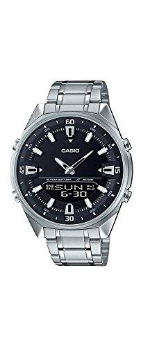Casio AMW830D-1AV Men's Stainless Steel Black Dial Analog Digital Telememo 30 Watch -