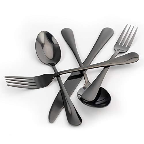 Black Silverware Set, Organic-Solutions 20 Piece Stainless Steel Utensil Cutlery Flatware Set for 4