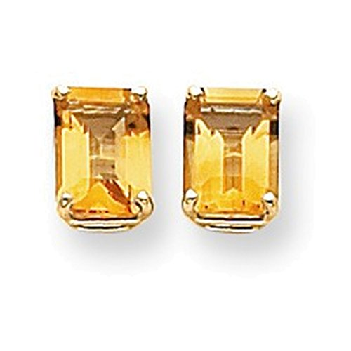 14k 8x6mm Emerald Cut Citrine earring