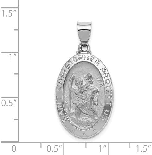 26X16MM Christopher Medal Pendant Rhodium Plated 14k White Gold Polished And Satin St