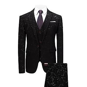 MOGU Mens Three-Piece Suits Slim Fit Prom Tuxedos Fashion Printed Wedding Dress
