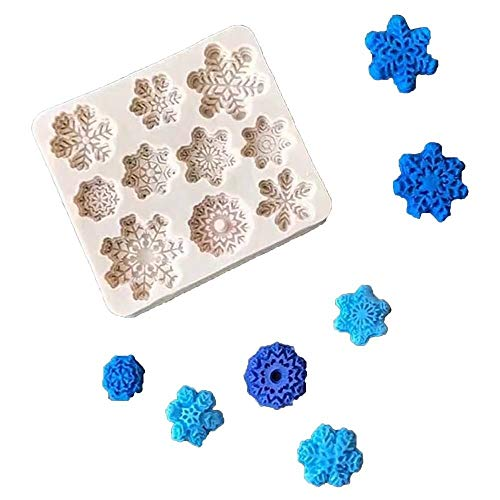 3D Snowflake Fondant Mold, Silicone Mold for Sugarcraft Cake Decoration, Cupcake Topper, Polymer Clay, Soap Wax Making Crafting Projects]()